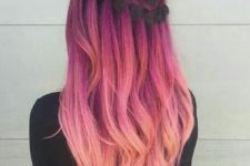 18 ombre hair with dark magenta to light pink