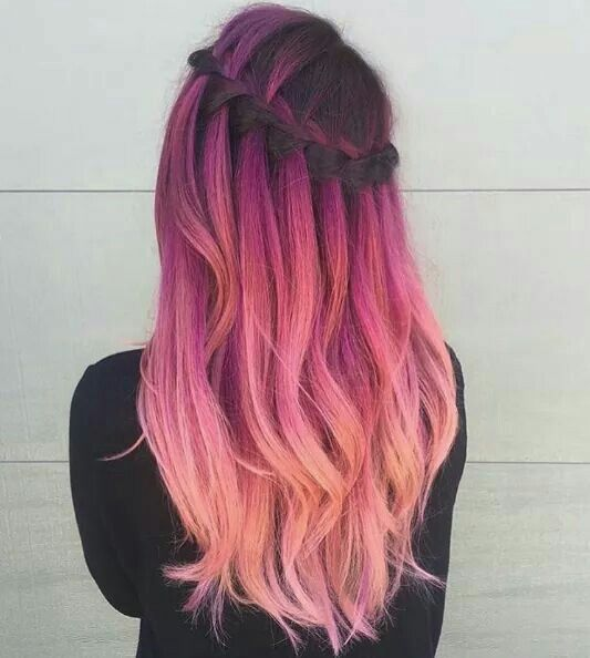 ombre hair with dark magenta to light pink