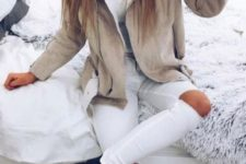 18 ripped white jeans, a neutral jacket with faux fur and boots