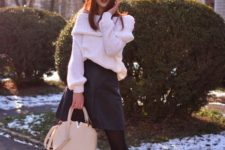 18 white off the shoulder sweater, black skirt, tall boots