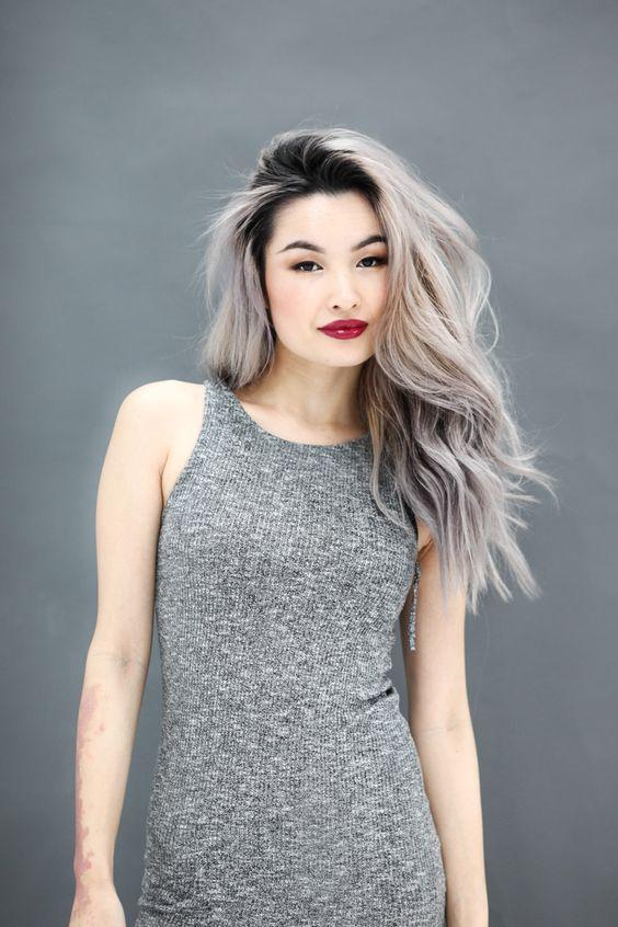 black roots and several shades of grey