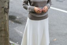 19 creamy midi skirt, a taupe sweater and anle boots