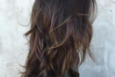 19 dark chocolate brown hair with light balayage for volume