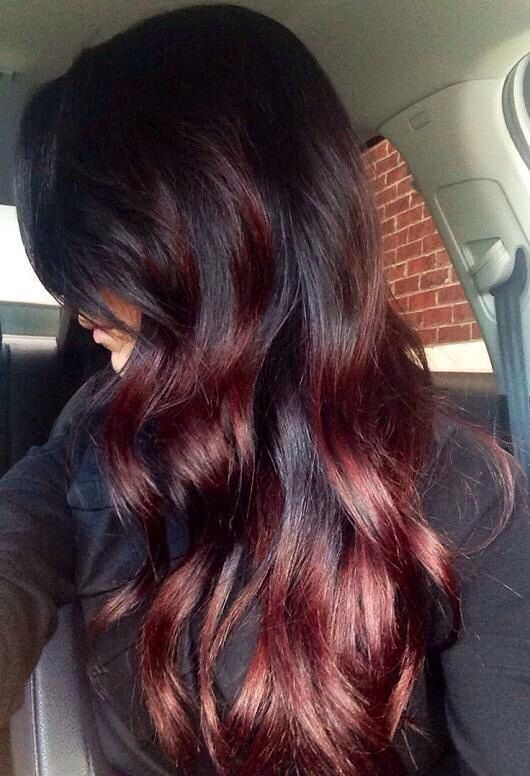 dark hair with black cherry highlights
