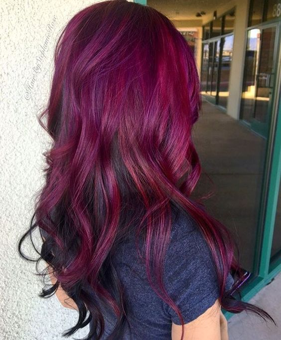 Picture Of Ombre Hair With Magenta To Merlot Colors
