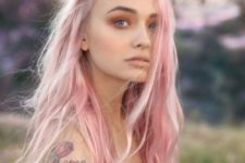 19 platinum pink long hippy hair