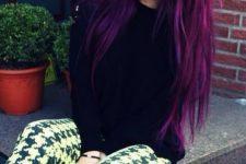19 super bold purple balayage hair with darker highlights