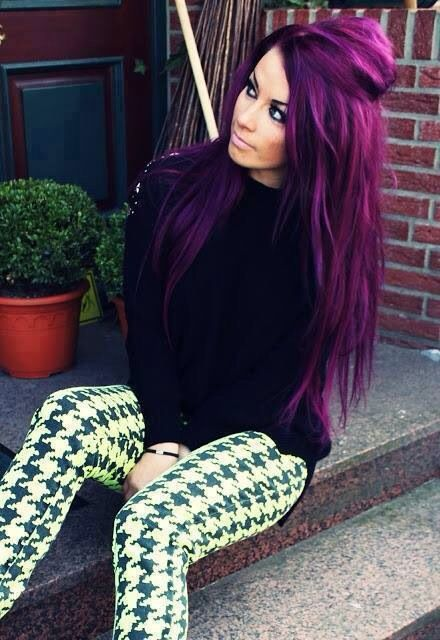 super bold purple balayage hair with darker highlights