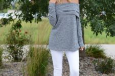 19 white jeans, a grey off the shoulder and neutral boots