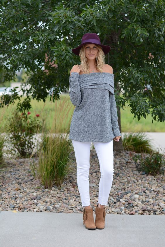 white jeans, a grey off the shoulder and neutral boots