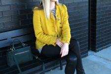 19 yellow blazer, J. Crew wool fedora, faux leather leggings and grey flats