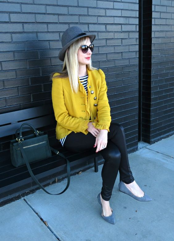 yellow blazer, J. Crew wool fedora, faux leather leggings and grey flats