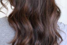 20 auburn balayage highlights on dark brown hair