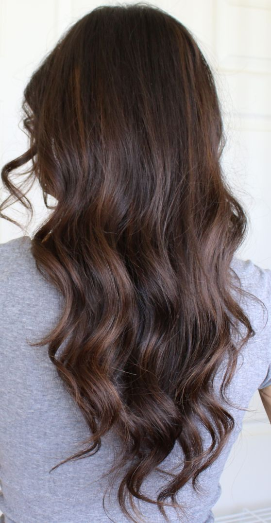 Picture Of Auburn Balayage Highlights On Dark Brown Hair