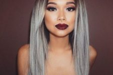 20 black roots and silver hair