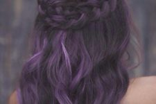 20 black to purple hair balayage