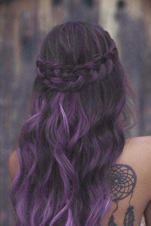 black to purple hair balayage