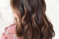 20 dark brown hair with caramel highlights
