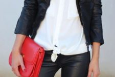 20 leggings, a black leather jacket, a white button down shirt and a red pop of color