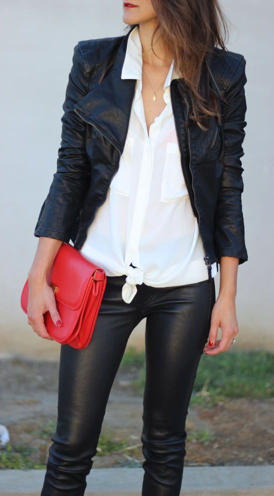 leggings, a black leather jacket, a white button down shirt and a red pop of color