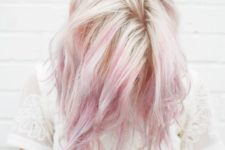 20 natural blond hair with pink highlights