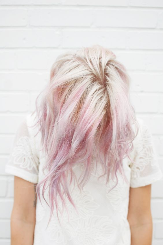 natural blond hair with pink highlights