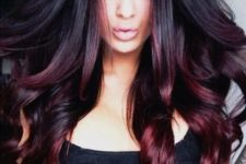 20 ombre hair from black to black cherry