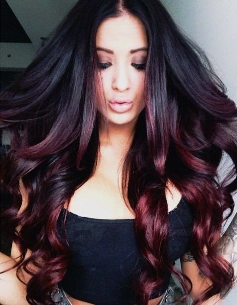 ombre hair from black to black cherry