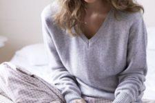 20 pattened pants, a grey sweater