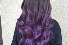 21 brown to purple balayage hair