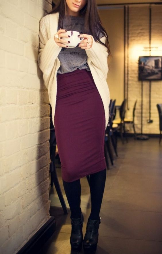 casual friday work look with burgundy midi skirt, black tights and boots, a tee and a comfy ivory cardigan