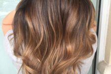 21 chocolate brown hair with caramel balayage