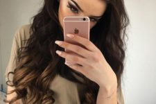 21 dark brown hair with lighter ombre hair
