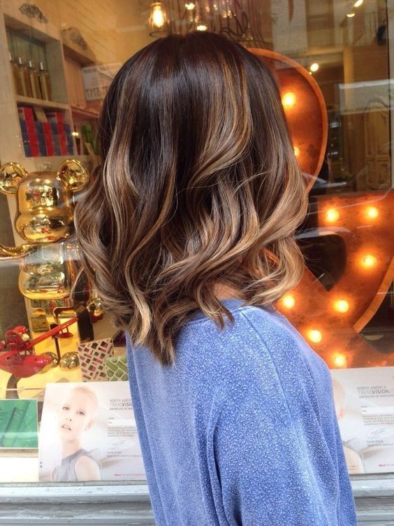 deep brown with caramel balayage highlights to create a dimension