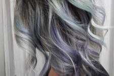 21 grey hair with black lowlights and purple and turquoise highlights