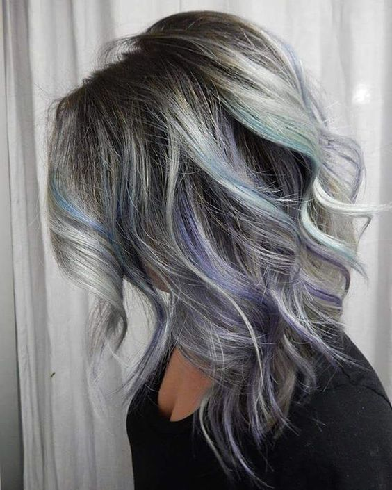 Picture Of Grey Hair With Black Lowlights And Purple And Turquoise
