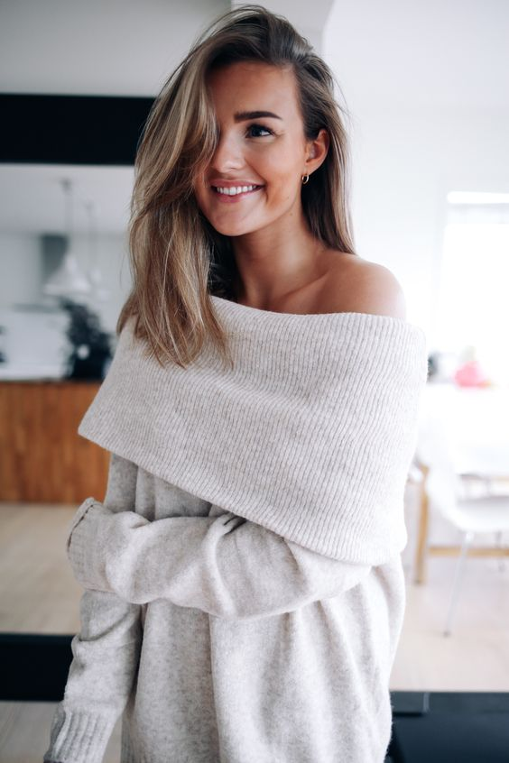 neutral off the shoulder sweater dress is ideal to feel comfy on cold days
