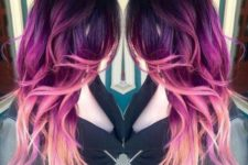 21 purple to magenta to light pink hair