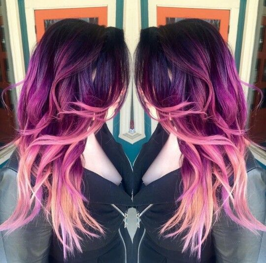 purple to magenta to light pink hair