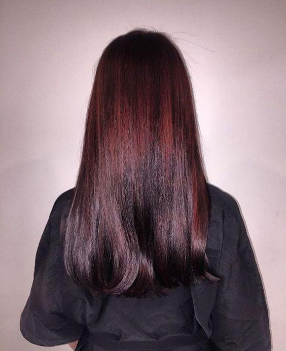 shiny ombre hair from mahogany to black cherry