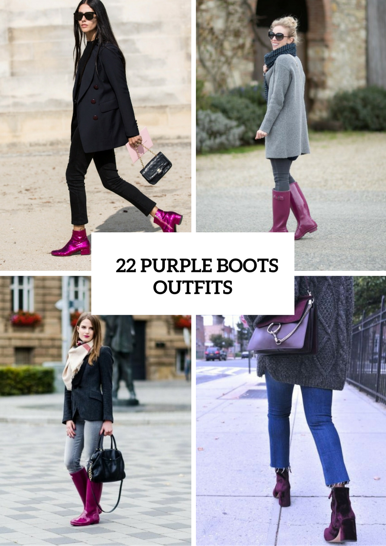 Stunning Purple Boots Outfits