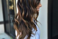 22 dark brunette hair with caramel highlights