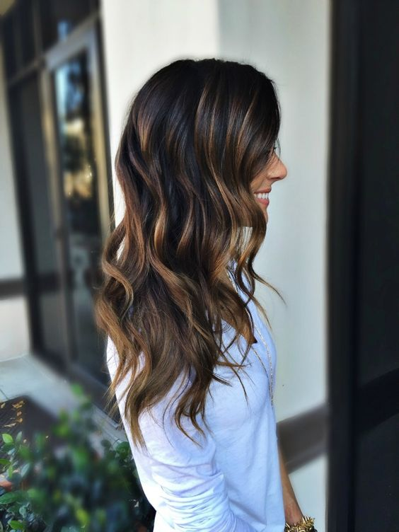 dark brunette hair with caramel highlights