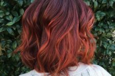 22 dark red hair with a copper balayage effect will give you power and sex appeal