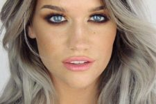 22 grey hair with dark roots look contrasting