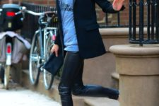 22 leather leggings, a printed tee, a black jacket and suede heels