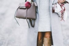 22 nude boots, a grey sweater dress and a long no-sleeve coat