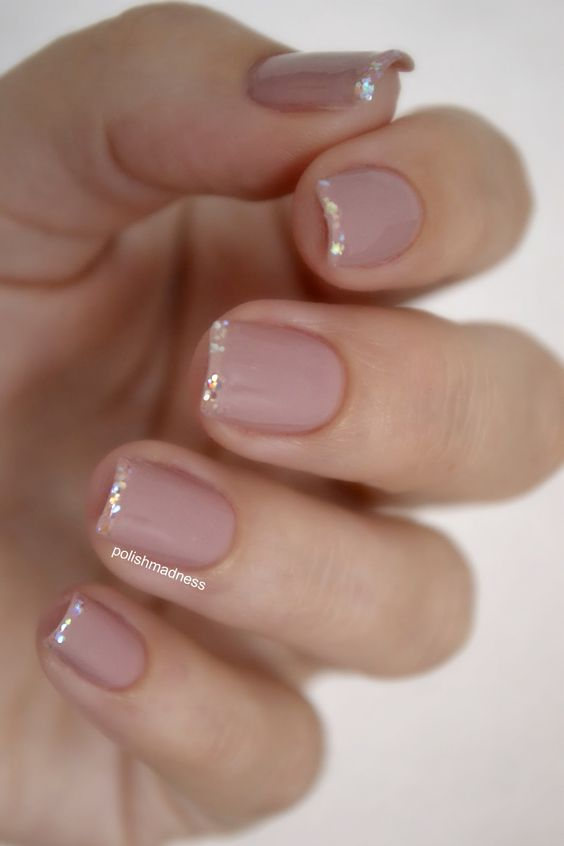 nude nails with a glitter hem