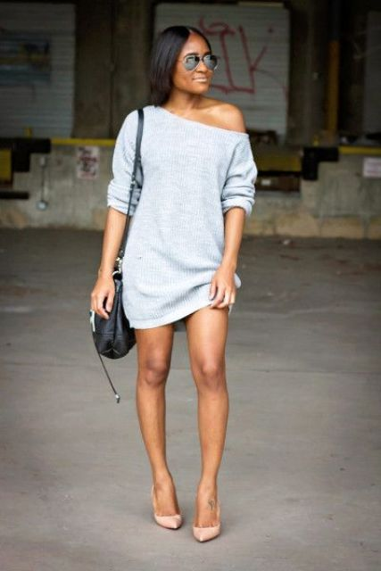 off the shoulder mini sweater dress