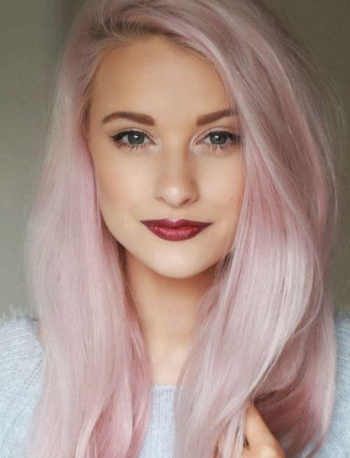 pastel pink long hair